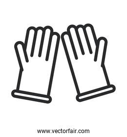 cleaning, rubber gloves supply domestic hygiene line style icon