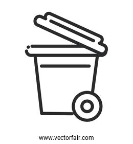cleaning, plastic trash can with and wheels hygiene line style icon