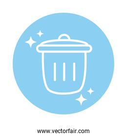 cleaning, trash can waste domestic hygiene block color style icon