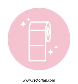 cleaning, toilet roll paper domestic hygiene block color style icon