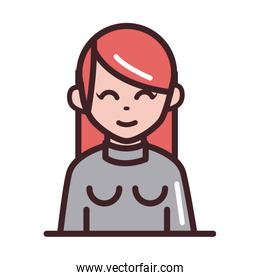 avatar woman female character portrait cartoon line and fill style icon