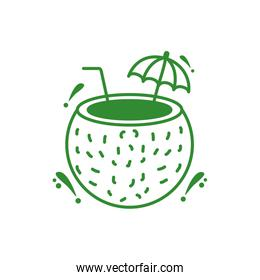coconut fresh cocktail isolated icon