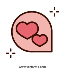 mothers day, speech bubble hearts love decoration line and fill style icon