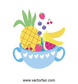cup with sweet pineapple and fruits