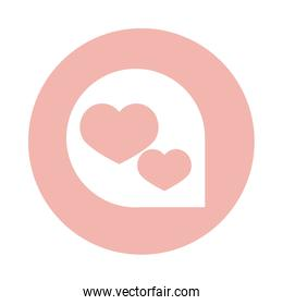 mothers day, speech bubble hearts love decoration block style icon