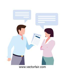 business couple with speech bubble on white background