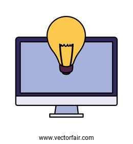 desktop computer screen with light bulb in white background