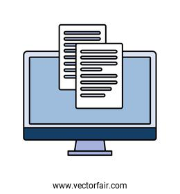 desktop computer screen with sheet of paper on white background
