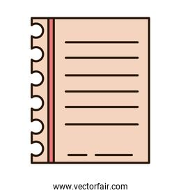 school education paper sheet lines supply line and fill style icon