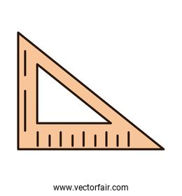 school education triangle ruler angle supply line and fill style icon