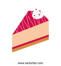 sweet cake portion dessert isolated icon