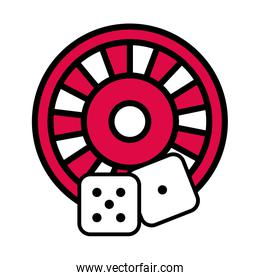 roulette wheel with dices casino
