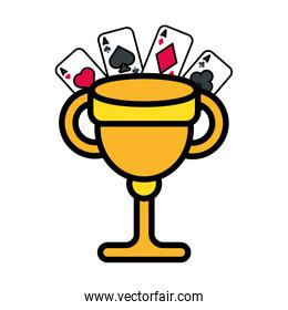 trophy cup award and casino cards