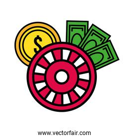 roulette wheel casino with coins and bills