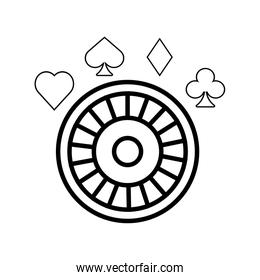 roulette wheel and poker figures casino
