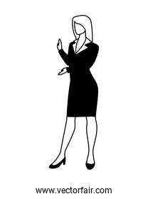 businesswoman standing on white background