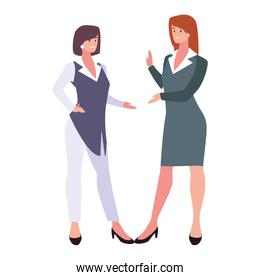 cute businesswomen with various views, poses and gestures