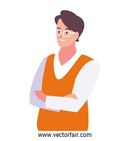 businessman with arms crossed on white background