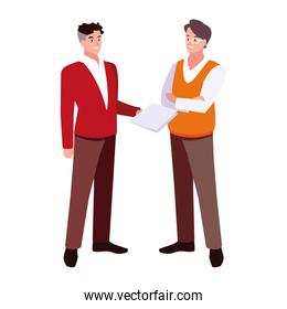 businessmen standing with various views, poses and gestures