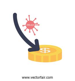 arrow down with covid19 virus and money coin icon, flat style