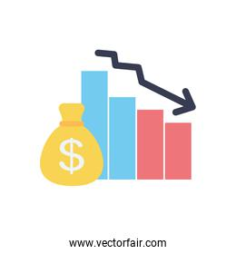 graphic bar chart with descending financial arrow and money bag icon, flat style