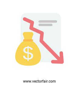 stock market crash concept, financial report and money bag icon, flat style