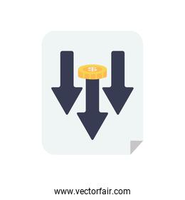 stock market crash concept, document with arrows down and money coin icon, flat style