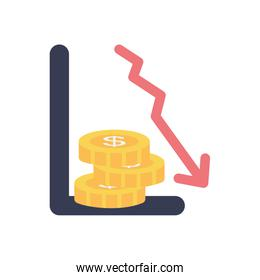 graphic chart with financial arrow down and money coins icon, flat style