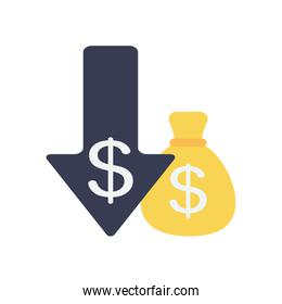arrow down with money symbol and money bag icon, flat style