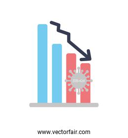 graphic bar chart with descending financial arrow and covid19 symbol icon, flat style