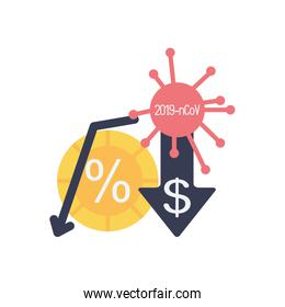 stock market crash concept, descending financial arrow and covid19 symbol and arrow with money symbol icon, flat style