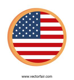 memorial day flag round button decoration american celebration flat style icon