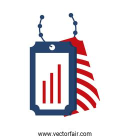 memorial day badges with chain soldier american celebration flat style icon