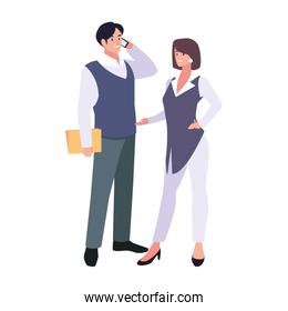 business couple standing on white background