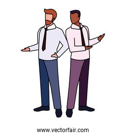 businessmen standing with various views and poses