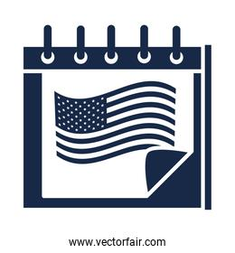 memorial day calendar flag reminder american celebration silhouette style icon