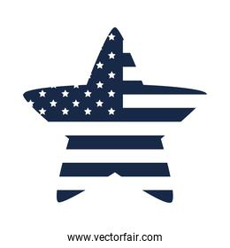memorial day flag shaped star emblem american celebration silhouette style icon