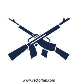 memorial day crossed gun military american celebration silhouette style icon