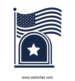 memorial day gravestone and flag american celebration silhouette style icon