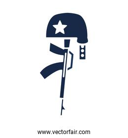 memorial day gun military and helmet american celebration silhouette style icon