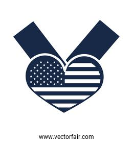 memorial day flag in heart ribbon symbol american celebration silhouette style icon