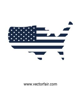 memorial day flag and map american celebration silhouette style icon
