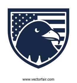 memorial day eagle in shield with flag american celebration silhouette style icon