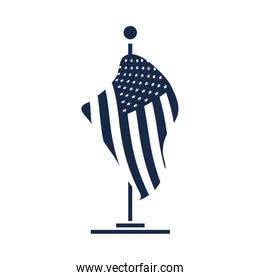 memorial day flag in stand sign american celebration silhouette style icon