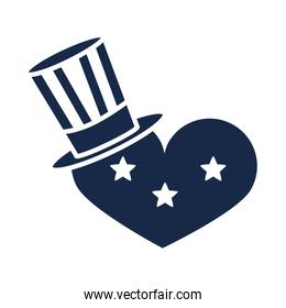 memorial day heart with hat and stars american celebration flat style icon silhouette style icon