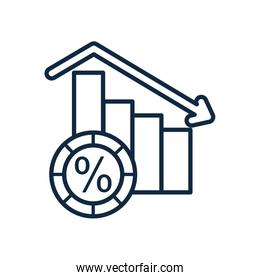 stock market chart concept, descending graphic bar chart and coin icon, line style