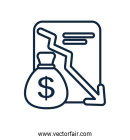 stock market crash concept, financial report and money bag icon, line style