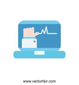 health online concept, laptop computer with doctor online on screen, flat style