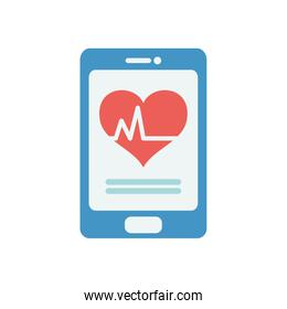 health online concept, smartphone with cardio heart on screen icon, flat style