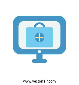 computer with first aid kit icon on screen icon, flat style